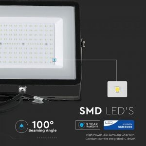 100W (8000Lm) IP65 LED Prožektors ULTRA SLIM SAMSUNG CHIP (Melns)