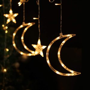 LED CHRISTMAS LIGHTS CURTAIN STARS / MOONS  2/3M