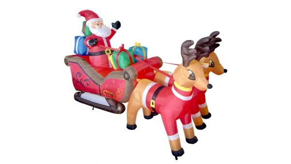 INFLATABLE SANTA ON A SLEIGH WITH REINDEER 2.40M