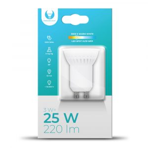 LED spuldze GU10 MR11 3W 230V 3000k - 6000K 240ml keramikas Forever Light