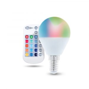 LED spuldze E14 G45 RGB + balta 5W ar tālvadības pulti 250lm Forever Light