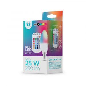 LED spuldze E14 C37 RGB + balta 5W ar tālvadības pulti 250lm Forever Light