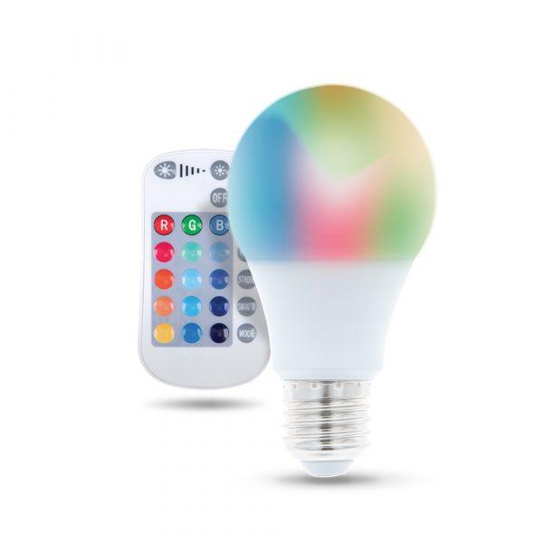 LED spuldze E27 A60 RGB + balta 9W ar tālvadības 720lm Forever Light