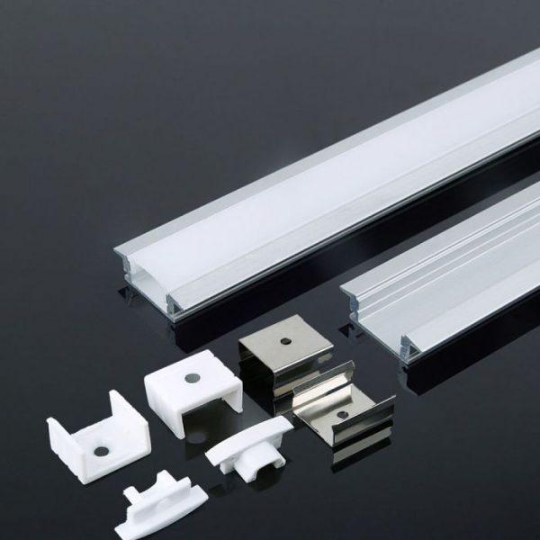 2m iebūvējams alumīnija profils, alumīnija krāsas stikls, V-TAC