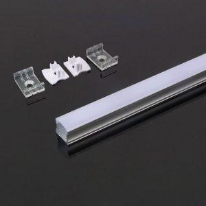 2m virsapmetuma alumīnija profils, piena krāsas stikls, V-TAC