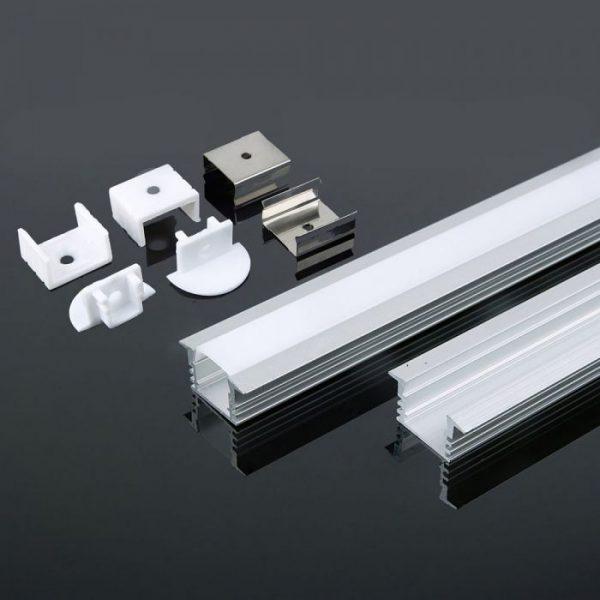 2m iebūvējams alumīnija profils, piena krāsas stikls, V-TAC