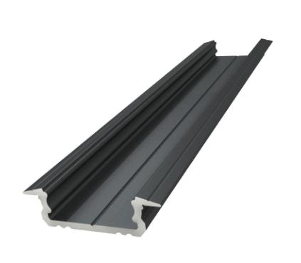 6 mm ALU padziļināts profils, melns lakots, garums 1000 mm, maks. 12 mm lentes platums