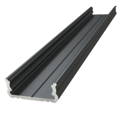 Virsapmetuma ALU profils 6mm, melns lakots, garums 1000mm, maks. 12mm lentes platums
