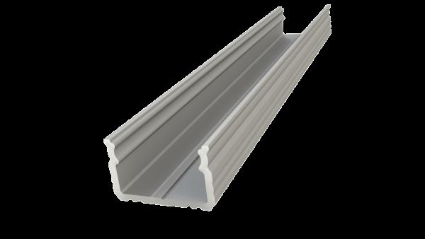 2m virsapmetuma profils 9 mm, anodēts sudrabs, lentes maksimālais platums 12 mm