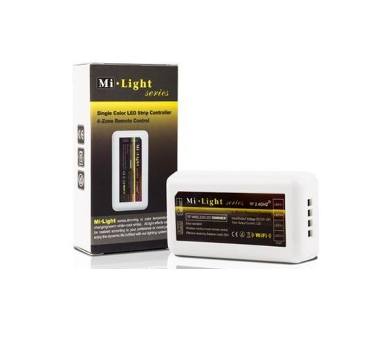 Mi-Light kontrolieris, CCT, 2.4G/Wi-Fi krāsu temperatūras regulators/4 zonu, tālvadības pults, radio vadība, aptumšošanas funkcija, max10A, 1 kanāls maks. 6A