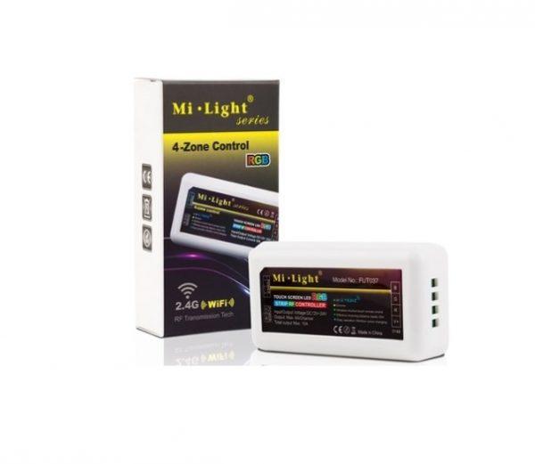 Mi-Light kontrolieris, RGB, 2.4G/Wi-Fi/4 zonu, tālvadības pults, radio vadība, dimmējams, max 10A, 1 kanāls maks. 6A