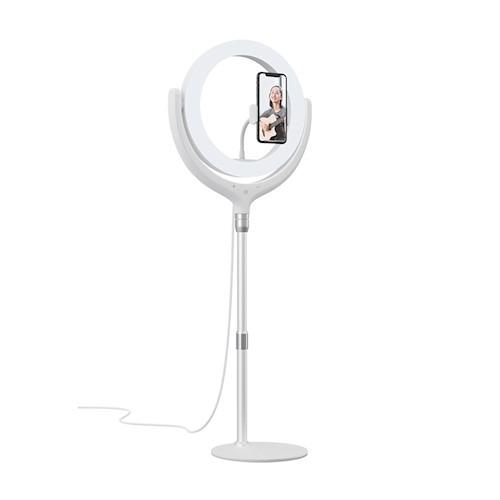 Devia, telefona statīvs ar 30cm LED gaismu,  balts