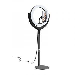 Devia, telefona statīvs ar 30cm LED gaismu,  Melns