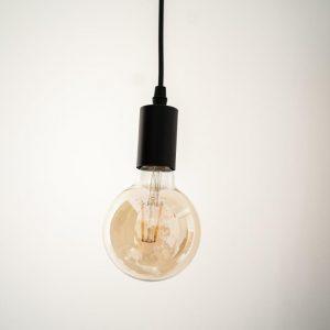 E27, 6W, (560Lm) LED spuldze Filament Retro Amber, G95, silti balta gaisma, 2500K