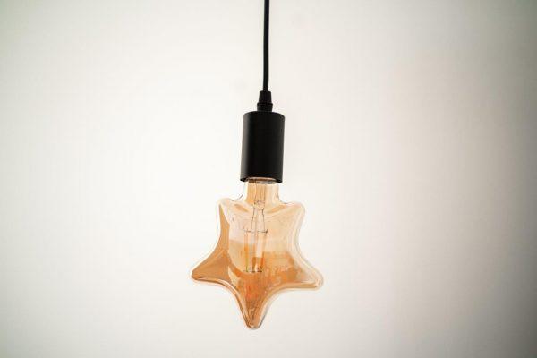 E27, 6W, (560Lm) LED spuldze Filament Retro Amber Star, C25, silti balta gaisma, 2500K