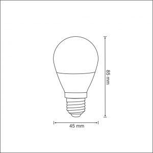 G45 E27, 250lm, 3W, 3000K LED spuldze