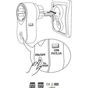 SMART WiFi kontaktligzda ar slēdzi + USB